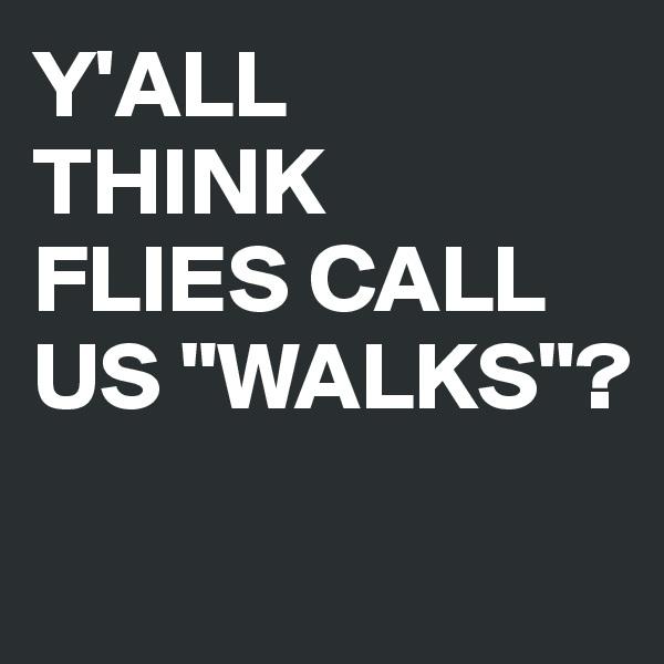 "Y'ALL THINK FLIES CALL US ""WALKS""?"
