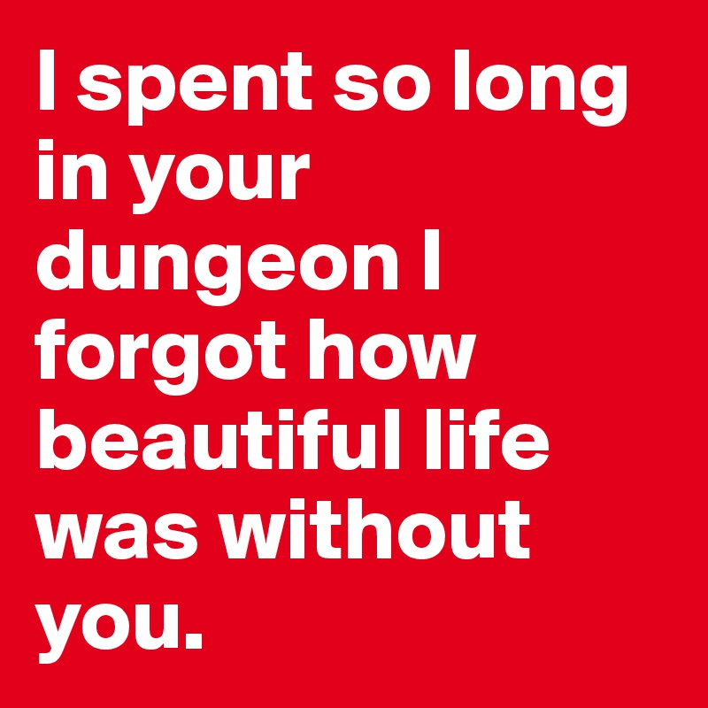 I spent so long in your dungeon I forgot how beautiful life was without you.