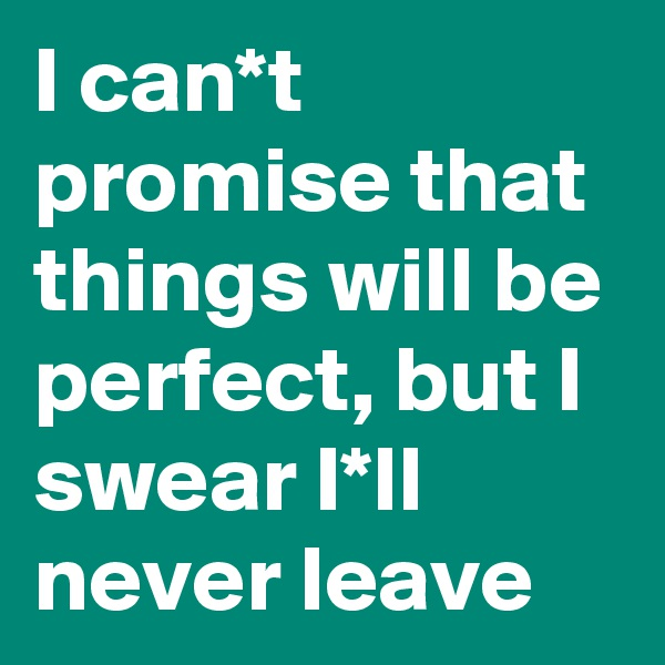 I can*t promise that things will be perfect, but I swear I*ll never leave