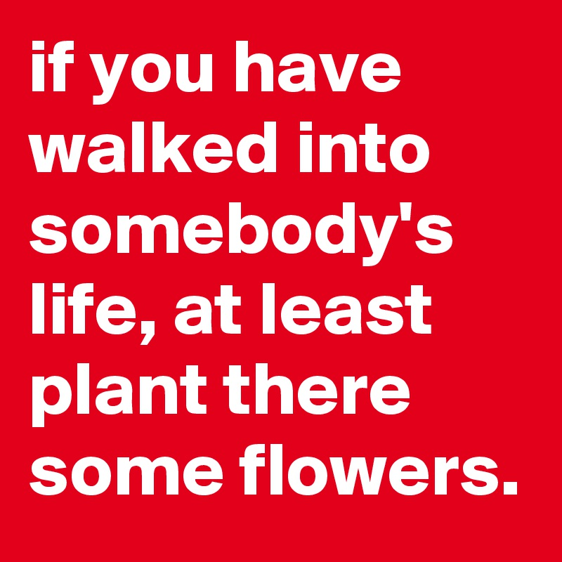 if you have walked into somebody's life, at least plant there some flowers.