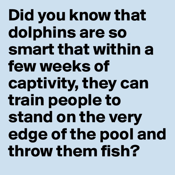 Did you know that dolphins are so smart that within a few weeks of captivity, they can train people to stand on the very edge of the pool and throw them fish?