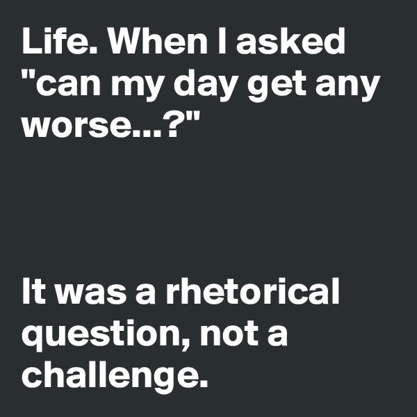 "Life. When I asked ""can my day get any worse...?""    It was a rhetorical question, not a challenge."