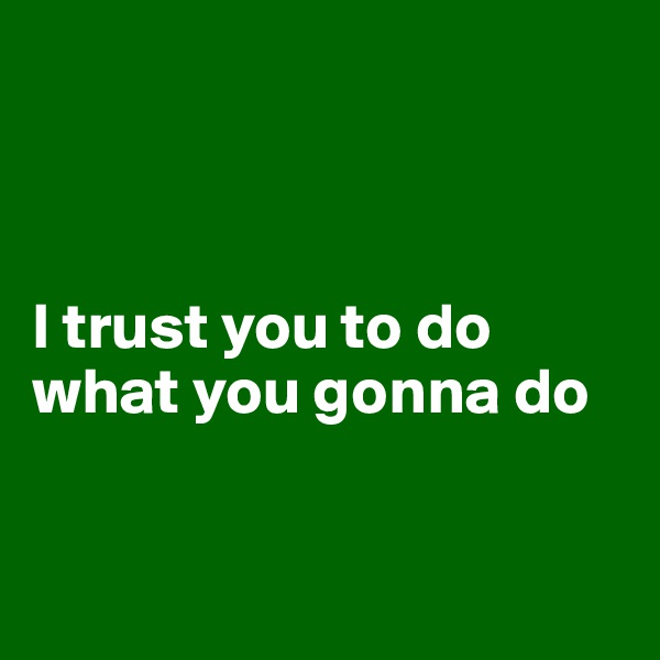 I trust you to do what you gonna do