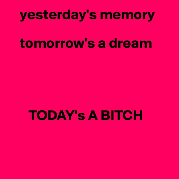 yesterday's memory      tomorrow's a dream            TODAY's A BITCH