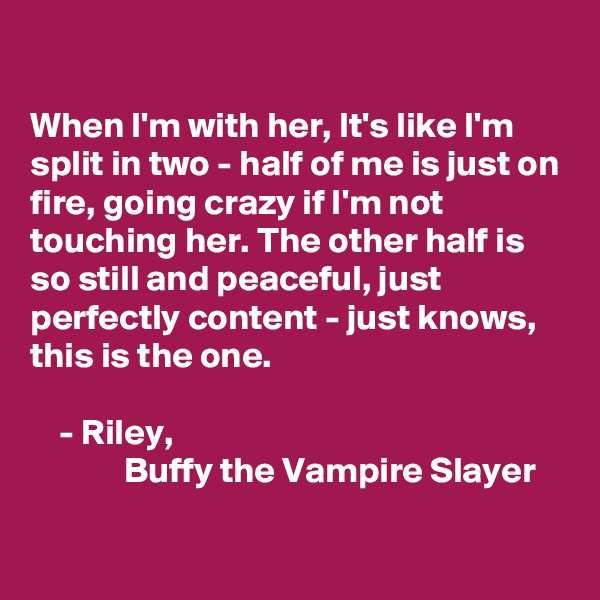 When I'm with her, It's like I'm split in two - half of me is just on fire, going crazy if I'm not touching her. The other half is so still and peaceful, just perfectly content - just knows, this is the one.       - Riley,              Buffy the Vampire Slayer