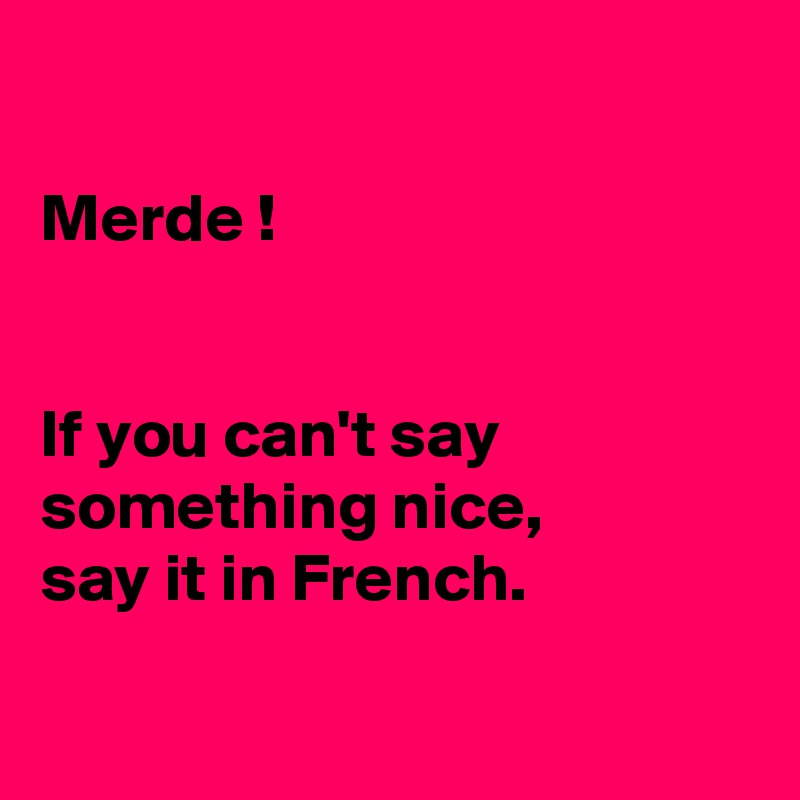 Merde !   If you can't say something nice,  say it in French.