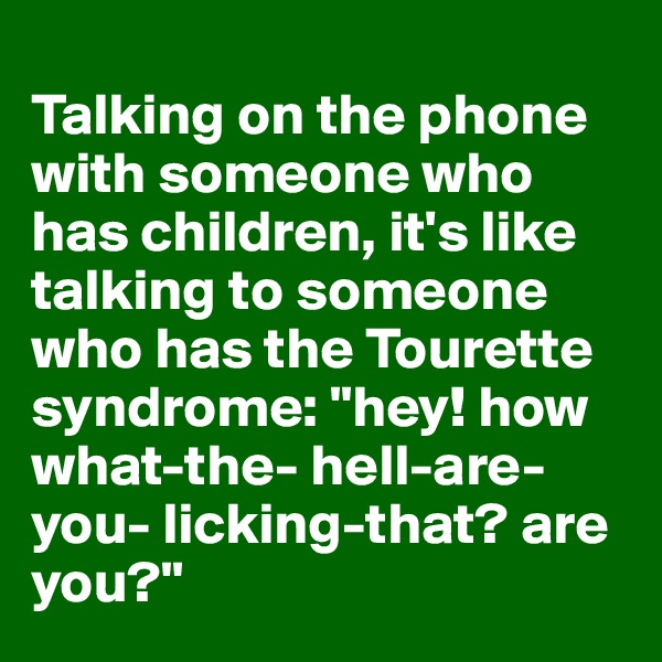 """Talking on the phone with someone who has children, it's like talking to someone who has the Tourette syndrome: """"hey! how what-the- hell-are-you- licking-that? are you?"""""""