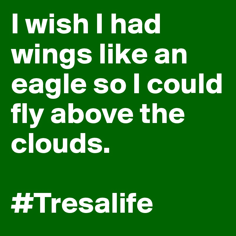 I wish I had wings like an eagle so I could fly above the clouds.   #Tresalife