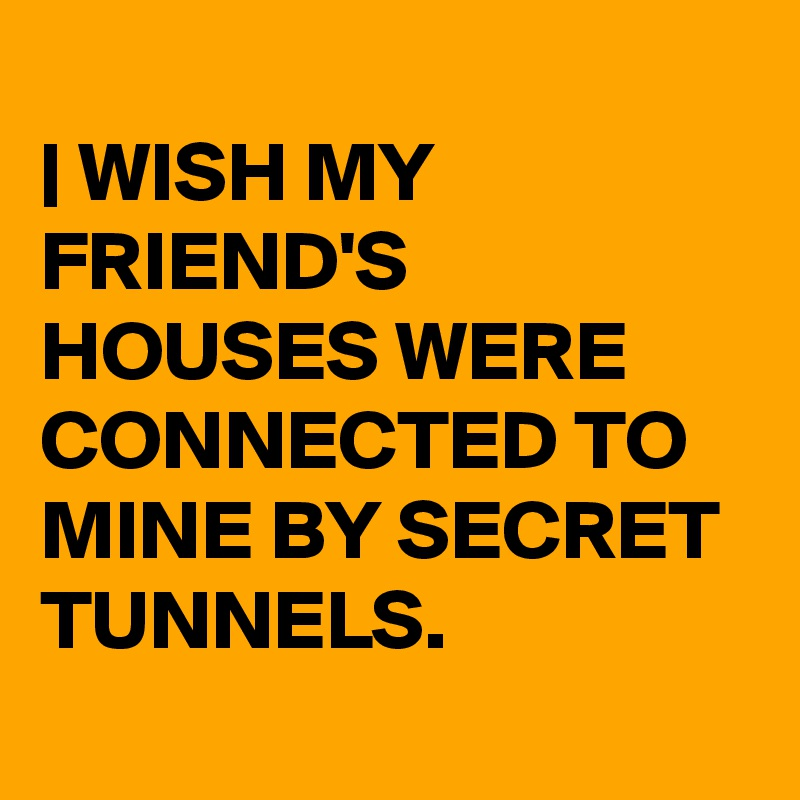 | WISH MY FRIEND'S HOUSES WERE CONNECTED TO MINE BY SECRET  TUNNELS.