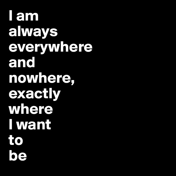 I am always everywhere  and  nowhere,  exactly  where  I want  to  be