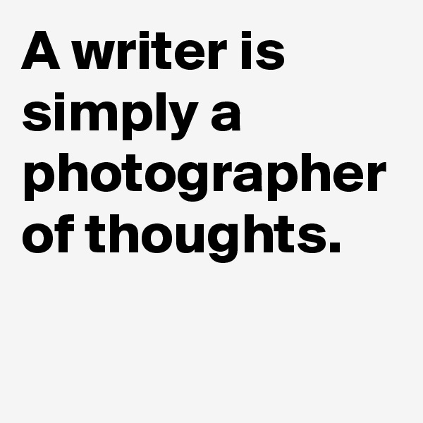 A writer is simply a photographer of thoughts.