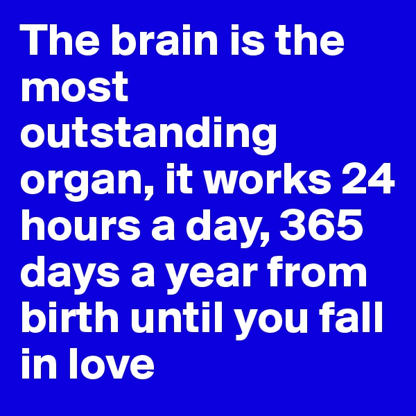 The brain is the most outstanding organ, it works 24 hours a day, 365 days a year from birth until you fall in love