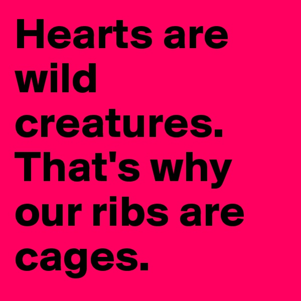 Hearts are wild creatures. That's why our ribs are cages.