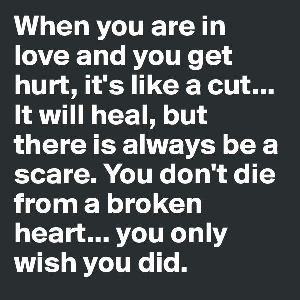 When you are in love and you get hurt, it's like a cut... It will heal, but there is always be a scare. You don't die from a broken heart... you only wish you did.