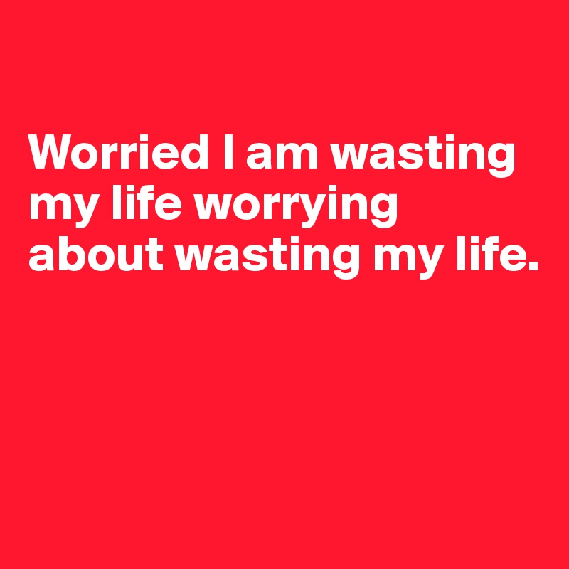 Worried I am wasting my life worrying about wasting my life.