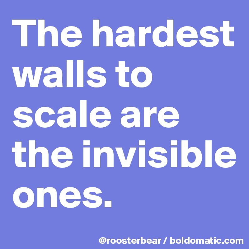 The hardest walls to scale are the invisible ones.