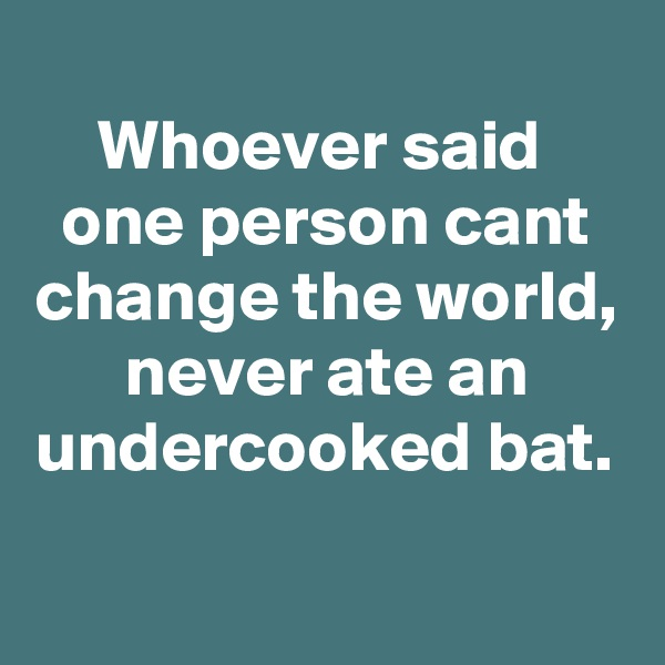 Whoever said  one person cant change the world, never ate an undercooked bat.