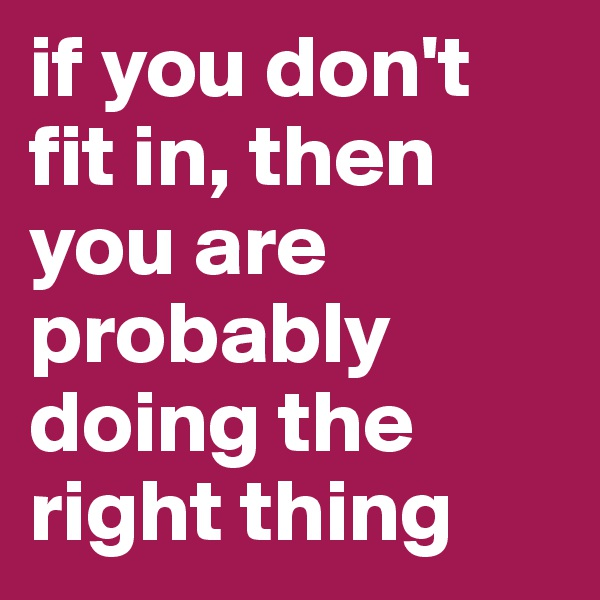 if you don't fit in, then you are probably doing the right thing