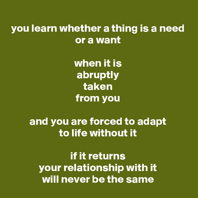 you learn whether a thing is a need or a want  when it is abruptly taken from you  and you are forced to adapt to life without it  if it returns your relationship with it will never be the same