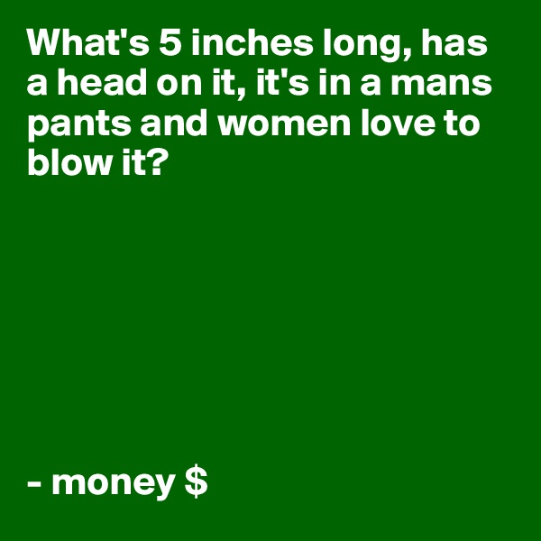 What's 5 inches long, has a head on it, it's in a mans pants and women love to blow it?        - money $