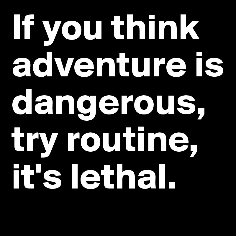 If you think adventure is dangerous, try routine, it's lethal.
