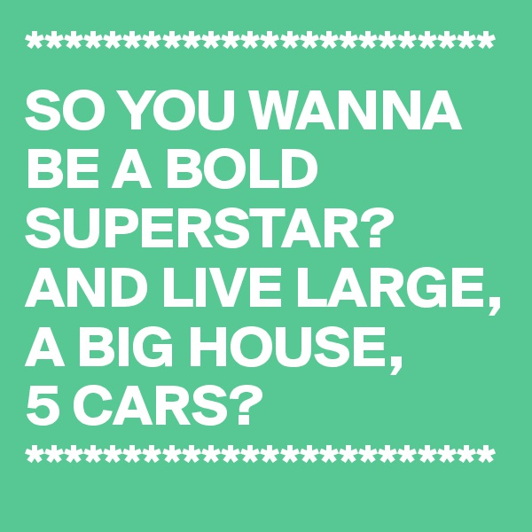 ************************ SO YOU WANNA BE A BOLD SUPERSTAR? AND LIVE LARGE, A BIG HOUSE,  5 CARS? ************************