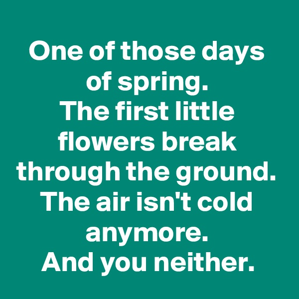 One of those days of spring. The first little flowers break through the ground. The air isn't cold anymore. And you neither.