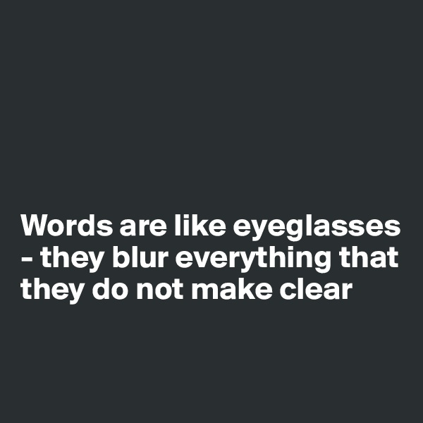 Words are like eyeglasses - they blur everything that they do not make clear
