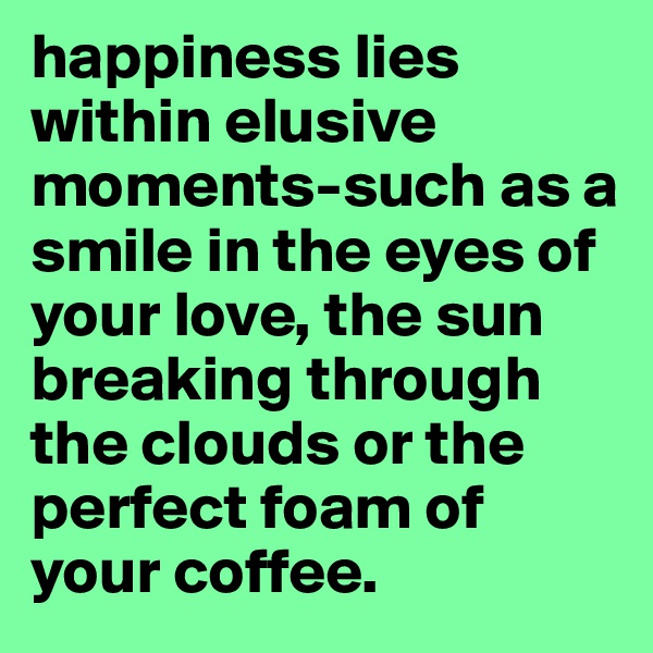 happiness lies within elusive moments-such as a smile in the eyes of your love, the sun breaking through the clouds or the perfect foam of your coffee.