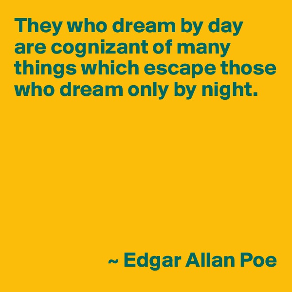 They who dream by day are cognizant of many things which escape those who dream only by night.                              ~ Edgar Allan Poe