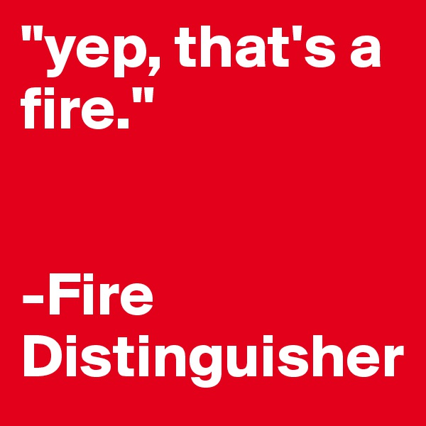 """yep, that's a fire.""    -Fire Distinguisher"