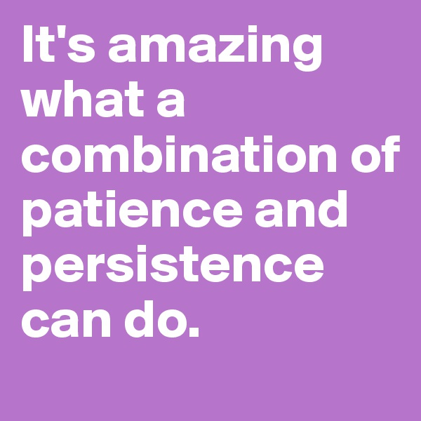 It's amazing what a combination of patience and persistence can do.