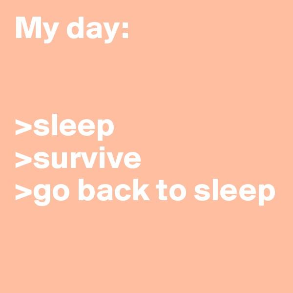 My day:   >sleep >survive >go back to sleep