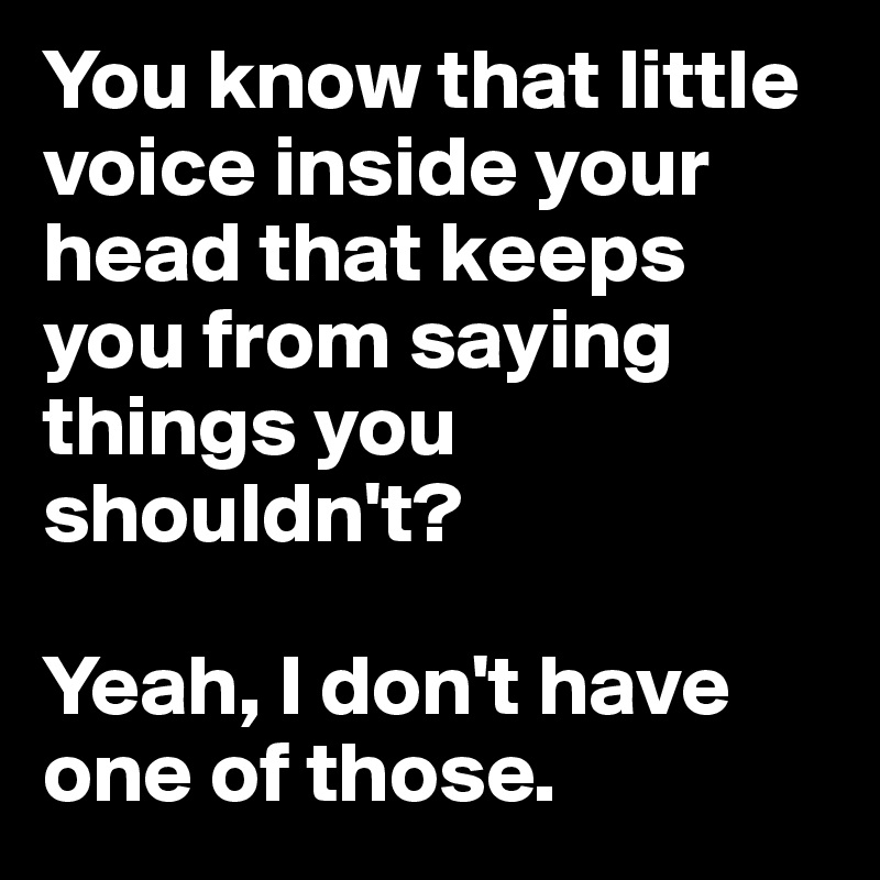 You know that little voice inside your head that keeps you from saying things you shouldn't?   Yeah, I don't have one of those.