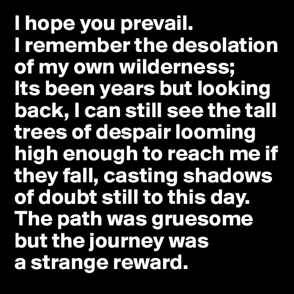 I hope you prevail.  I remember the desolation of my own wilderness;  Its been years but looking back, I can still see the tall trees of despair looming high enough to reach me if they fall, casting shadows of doubt still to this day. The path was gruesome but the journey was  a strange reward.