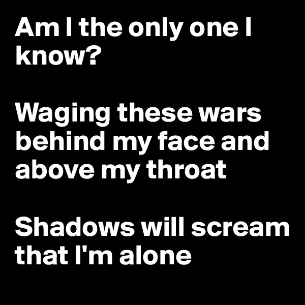 Am I the only one I know?  Waging these wars behind my face and above my throat  Shadows will scream that I'm alone