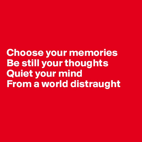 Choose your memories Be still your thoughts Quiet your mind  From a world distraught