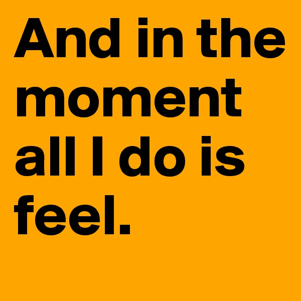 And in the moment all I do is feel.