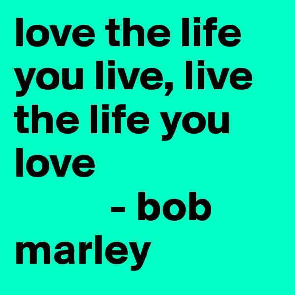 love the life you live, live the life you love             - bob marley