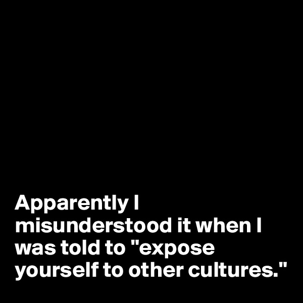 "Apparently I misunderstood it when I was told to ""expose yourself to other cultures."""