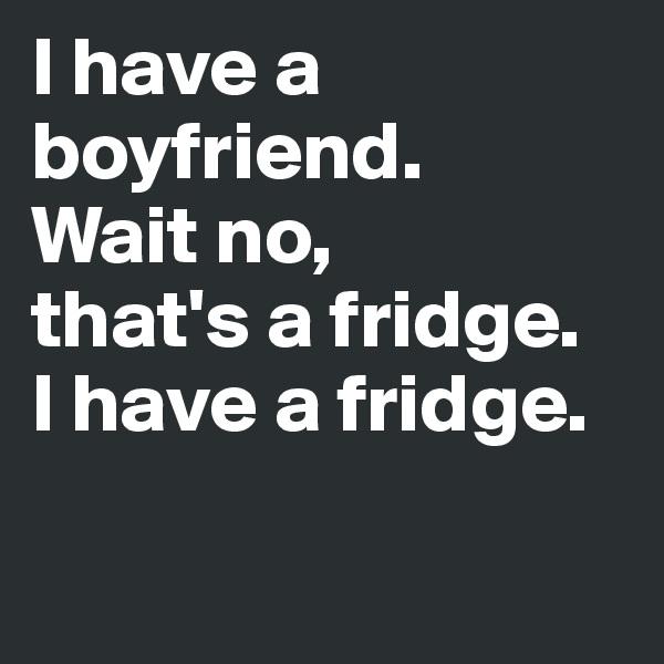 I have a boyfriend.  Wait no, that's a fridge. I have a fridge.