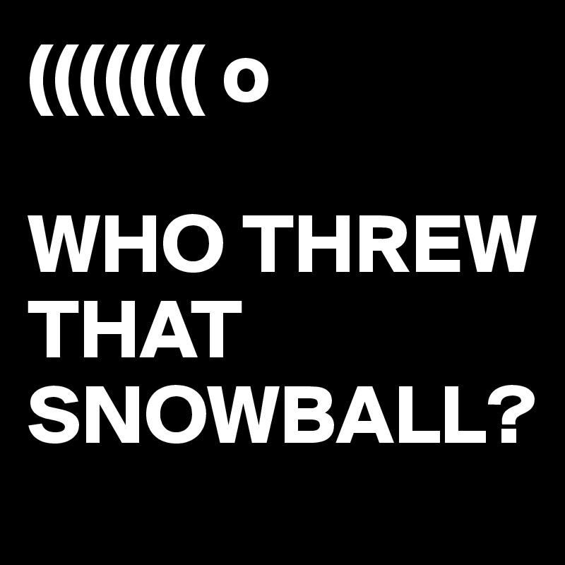 ((((((( o  WHO THREW THAT SNOWBALL?