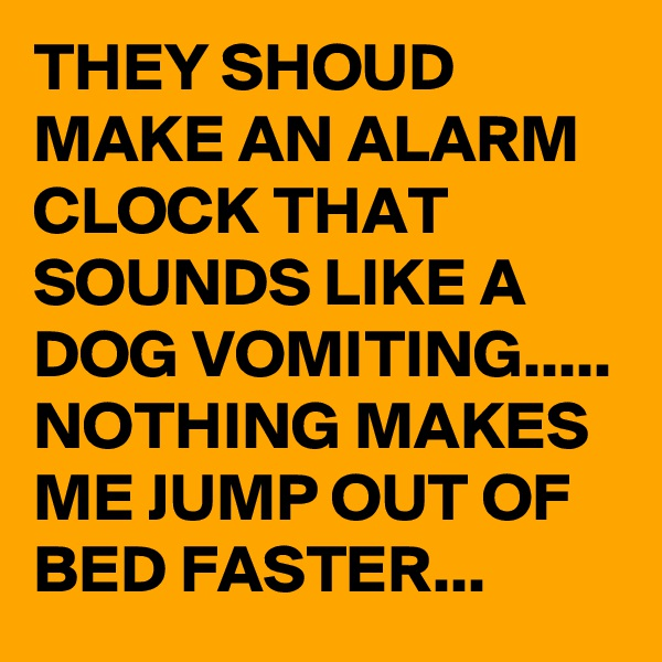 THEY SHOUD MAKE AN ALARM CLOCK THAT SOUNDS LIKE A DOG VOMITING..... NOTHING MAKES ME JUMP OUT OF BED FASTER...