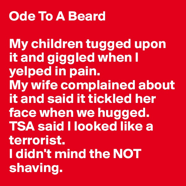 Ode To A Beard  My children tugged upon it and giggled when I yelped in pain.  My wife complained about it and said it tickled her face when we hugged.  TSA said I looked like a terrorist.  I didn't mind the NOT shaving.