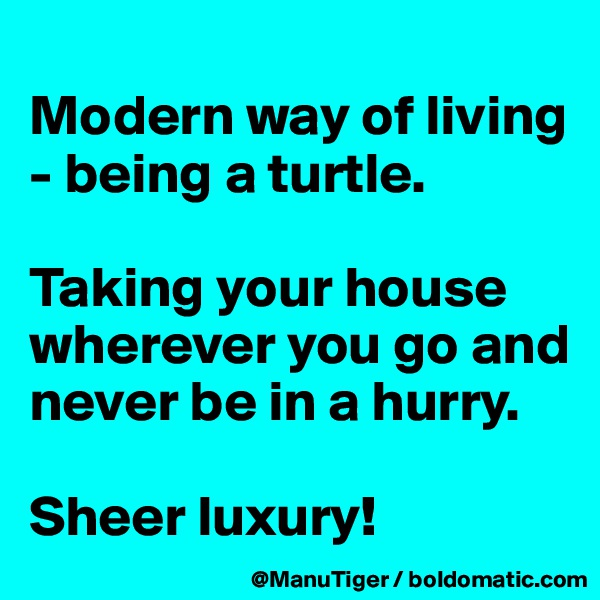 Modern way of living - being a turtle.   Taking your house wherever you go and never be in a hurry.   Sheer luxury!