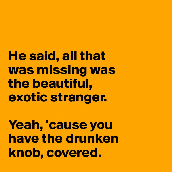 He said, all that  was missing was  the beautiful,  exotic stranger.  Yeah, 'cause you  have the drunken  knob, covered.