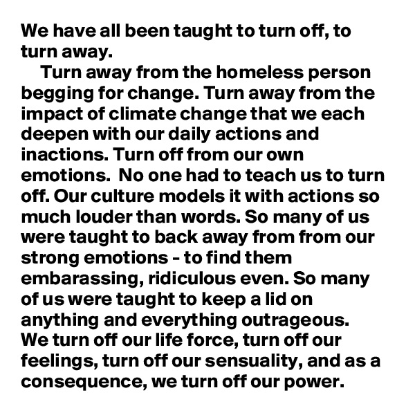 We have all been taught to turn off, to turn away.      Turn away from the homeless person begging for change. Turn away from the impact of climate change that we each deepen with our daily actions and inactions. Turn off from our own emotions.  No one had to teach us to turn off. Our culture models it with actions so much louder than words. So many of us were taught to back away from from our strong emotions - to find them embarassing, ridiculous even. So many of us were taught to keep a lid on anything and everything outrageous.  We turn off our life force, turn off our feelings, turn off our sensuality, and as a consequence, we turn off our power.