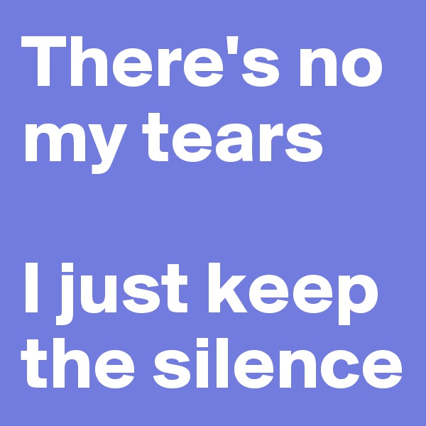 There's no my tears  I just keep the silence