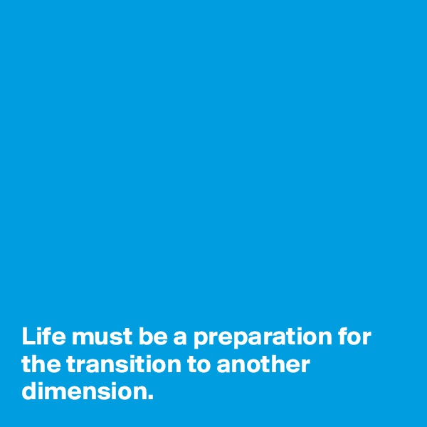 Life must be a preparation for the transition to another dimension.