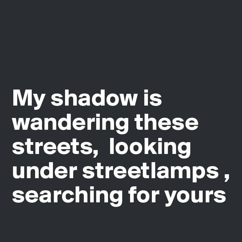 My shadow is wandering these streets,  looking under streetlamps , searching for yours
